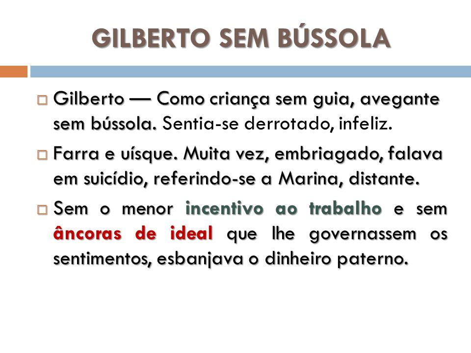 GILBERTO SEM BÚSSOLA Gilberto — Como criança sem guia, avegante sem bússola. Sentia-se derrotado, infeliz.