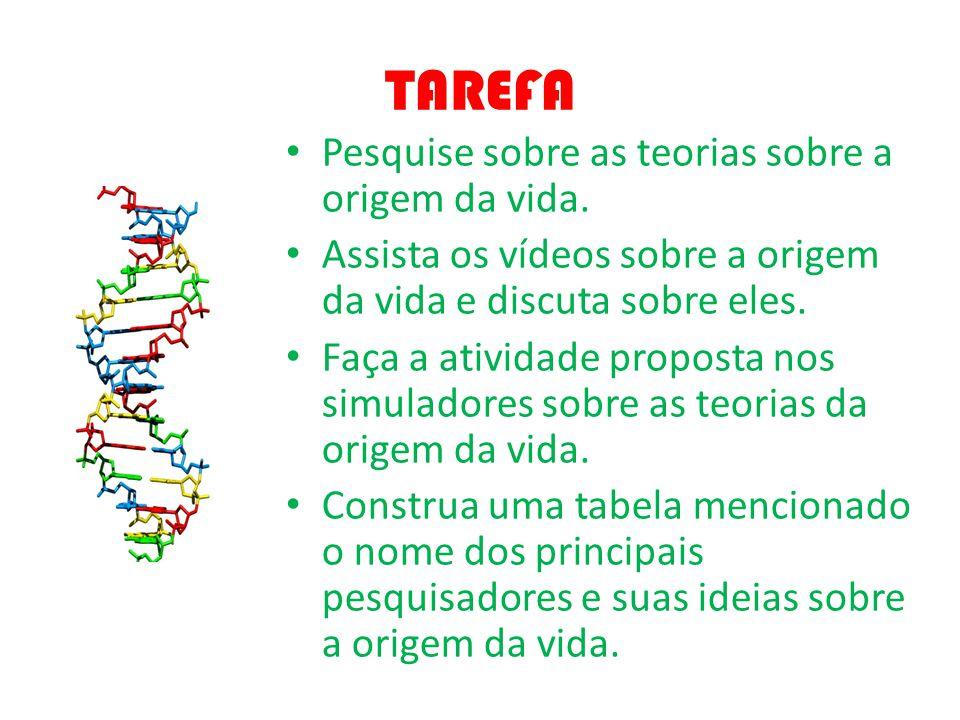 TAREFA Pesquise sobre as teorias sobre a origem da vida.