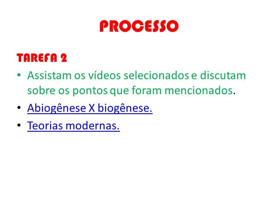 PROCESSO TAREFA 2. Assistam os vídeos selecionados e discutam sobre os pontos que foram mencionados.