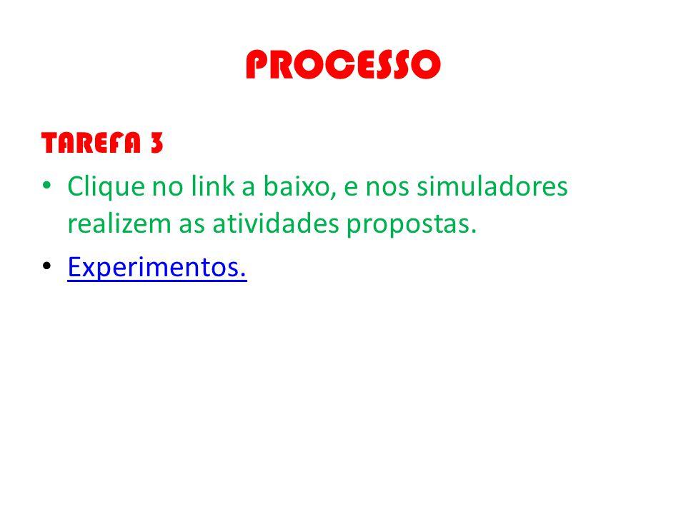 PROCESSO TAREFA 3. Clique no link a baixo, e nos simuladores realizem as atividades propostas.