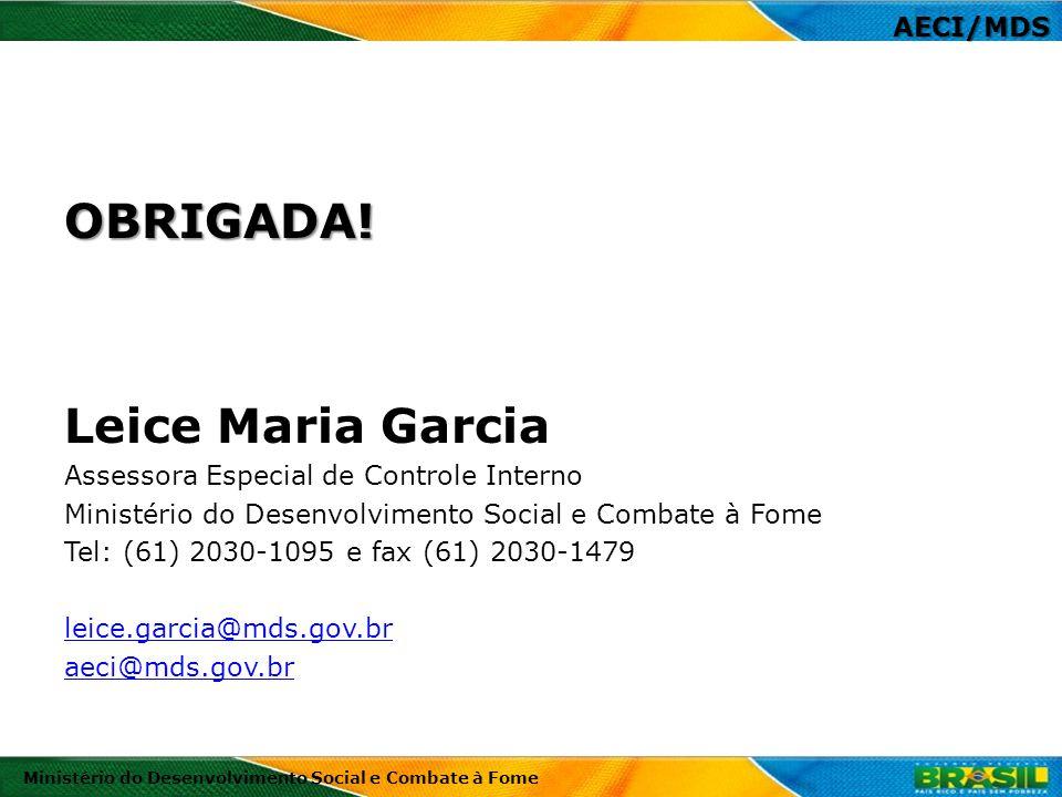 OBRIGADA! Leice Maria Garcia AECI/MDS