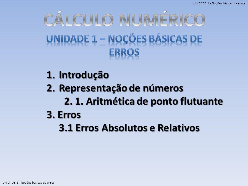 UNIDADE 1 – Noções básicas de erros