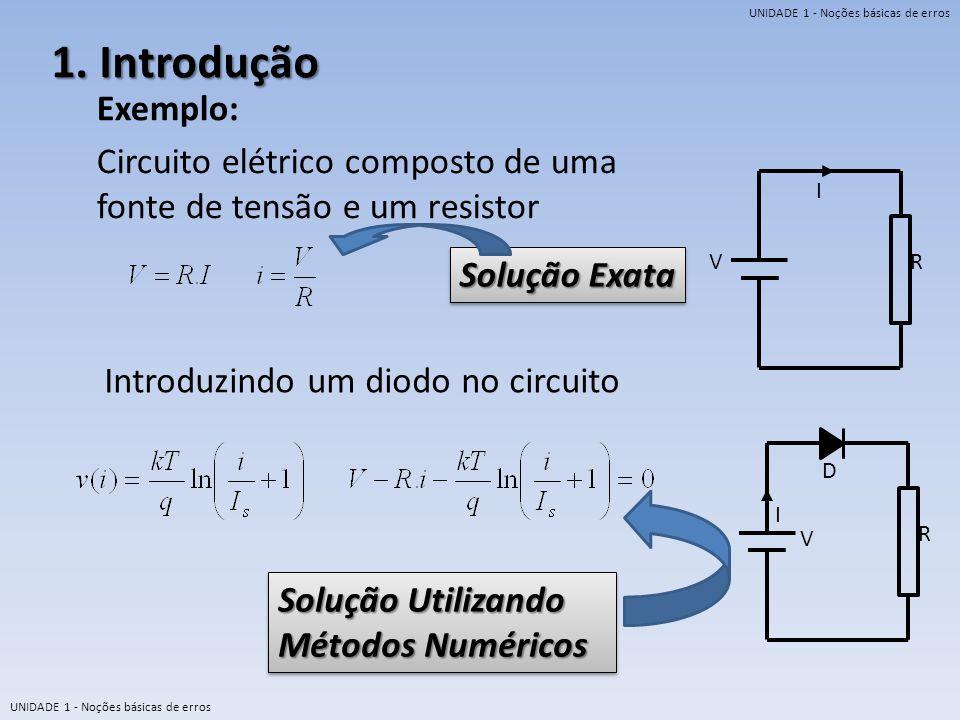1. Introdução Exemplo: Circuito elétrico composto de uma fonte de tensão e um resistor. V. I. R.