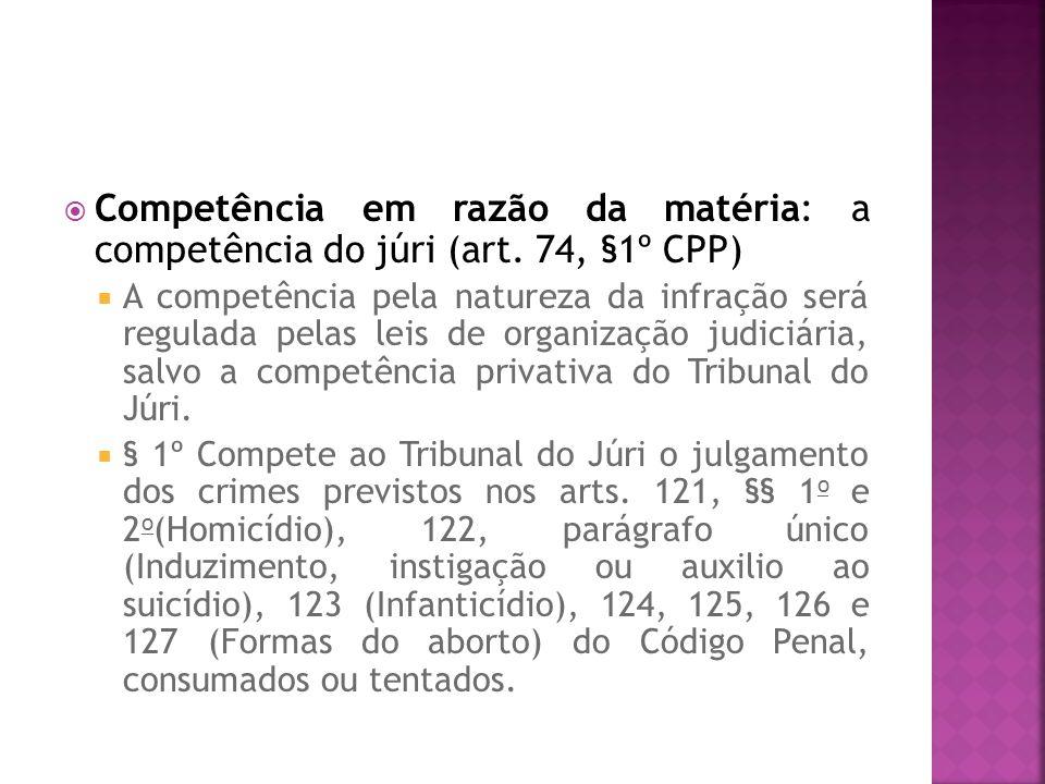 Competência em razão da matéria: a competência do júri (art