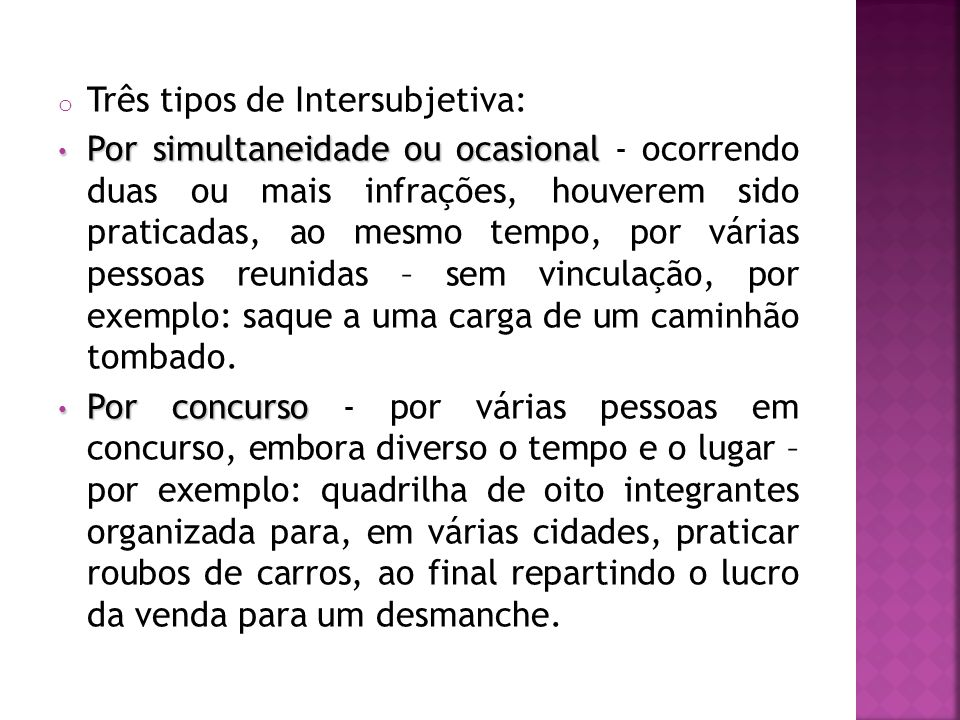 Três tipos de Intersubjetiva: