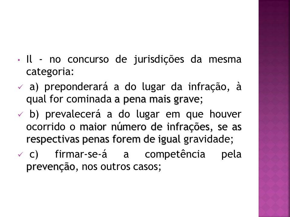 Il - no concurso de jurisdições da mesma categoria: