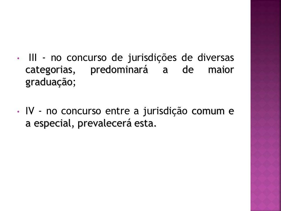 III - no concurso de jurisdições de diversas categorias, predominará a de maior graduação;