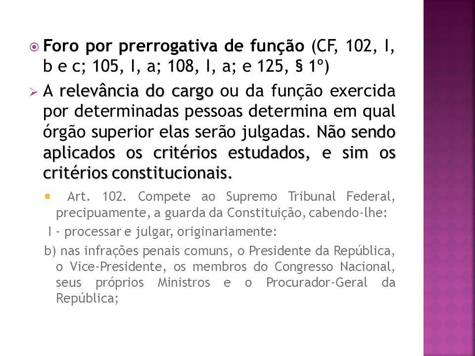 Foro por prerrogativa de função (CF, 102, I, b e c; 105, I, a; 108, I, a; e 125, § 1º)