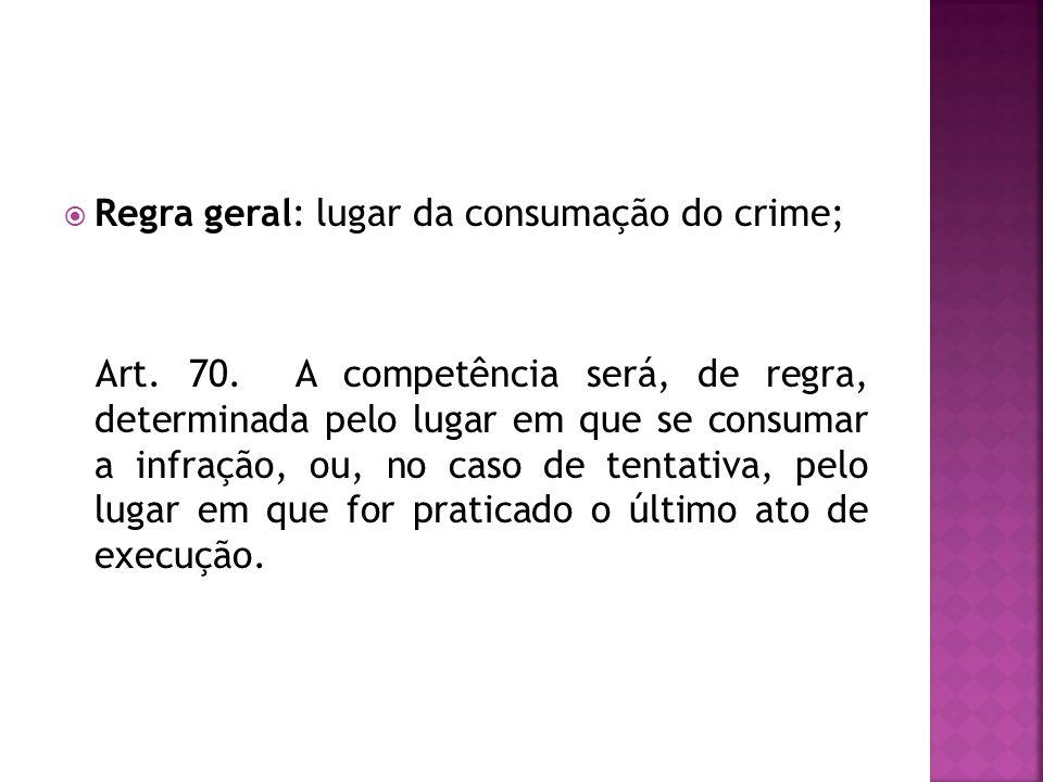 Regra geral: lugar da consumação do crime;