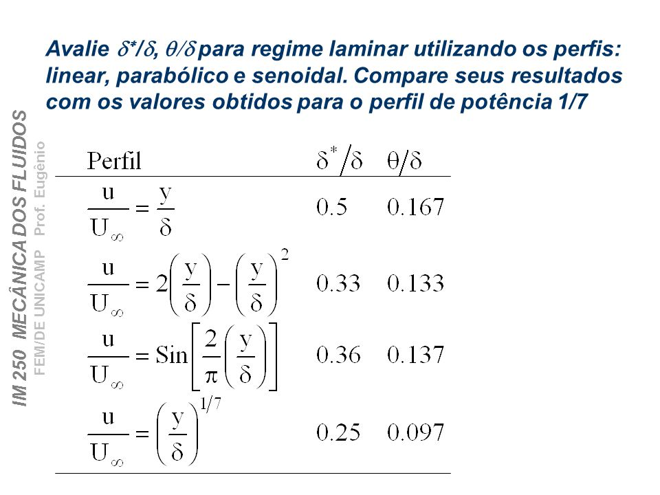 Avalie d*/d, q/d para regime laminar utilizando os perfis: linear, parabólico e senoidal.