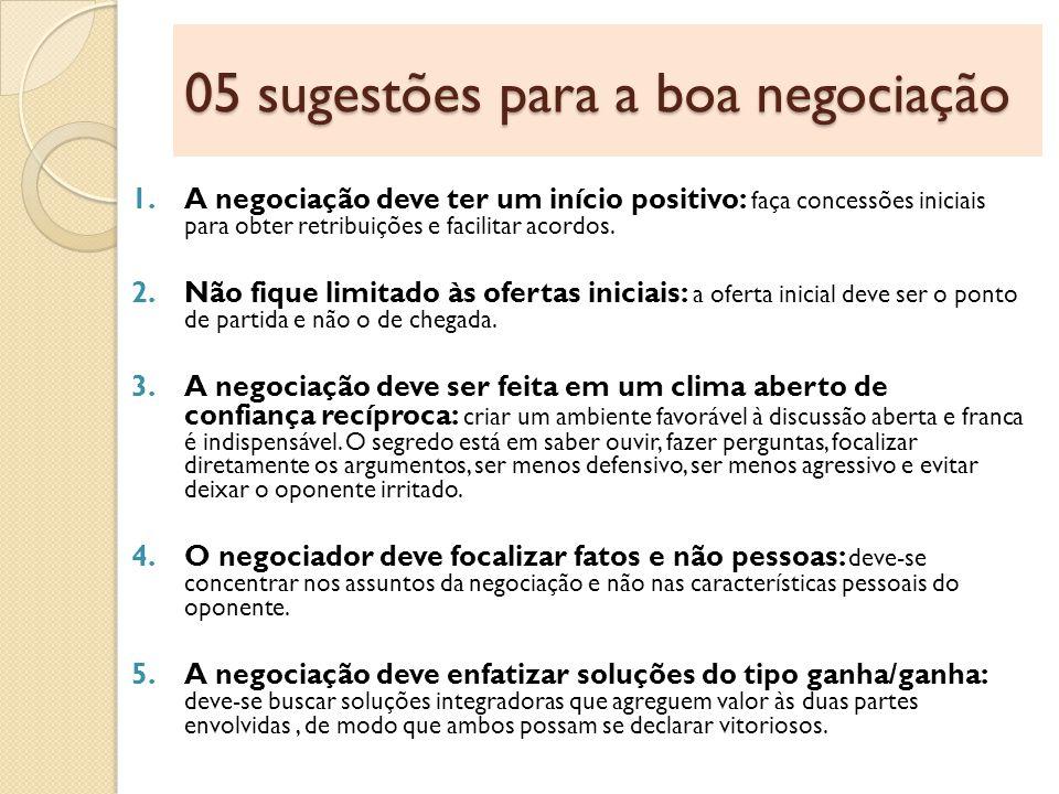 05 sugestões para a boa negociação