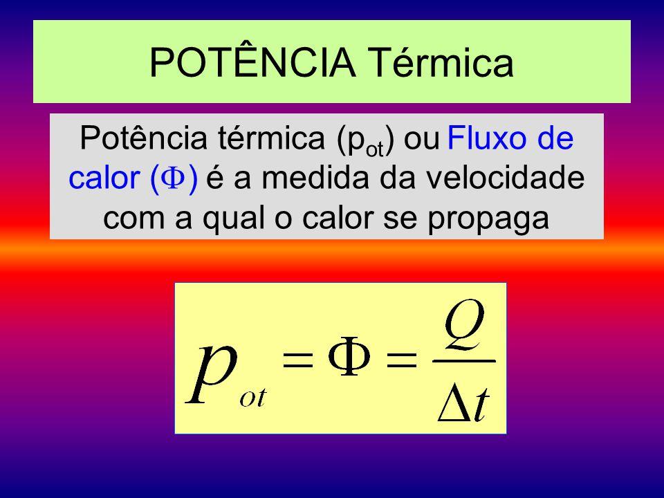 POTÊNCIA Térmica Potência térmica (pot) ou Fluxo de calor () é a medida da velocidade com a qual o calor se propaga.
