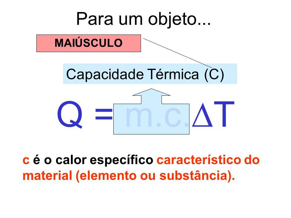 Q = m.c.T Para um objeto... Capacidade Térmica (C)