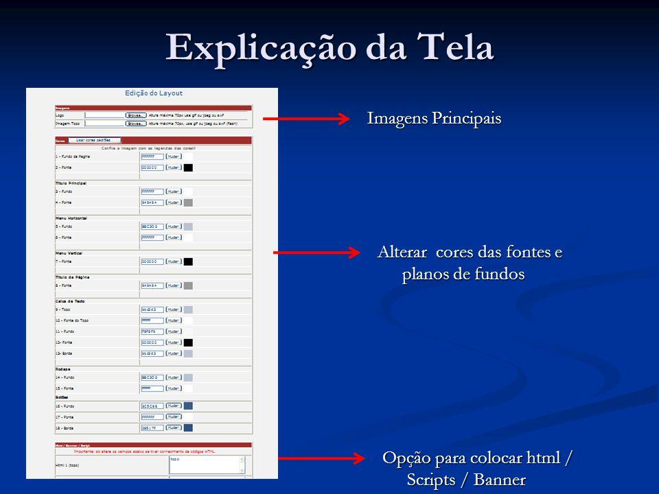 Explicação da Tela Imagens Principais