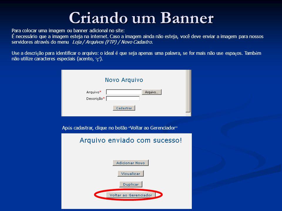 Criando um Banner Para colocar uma imagem ou banner adicional no site: