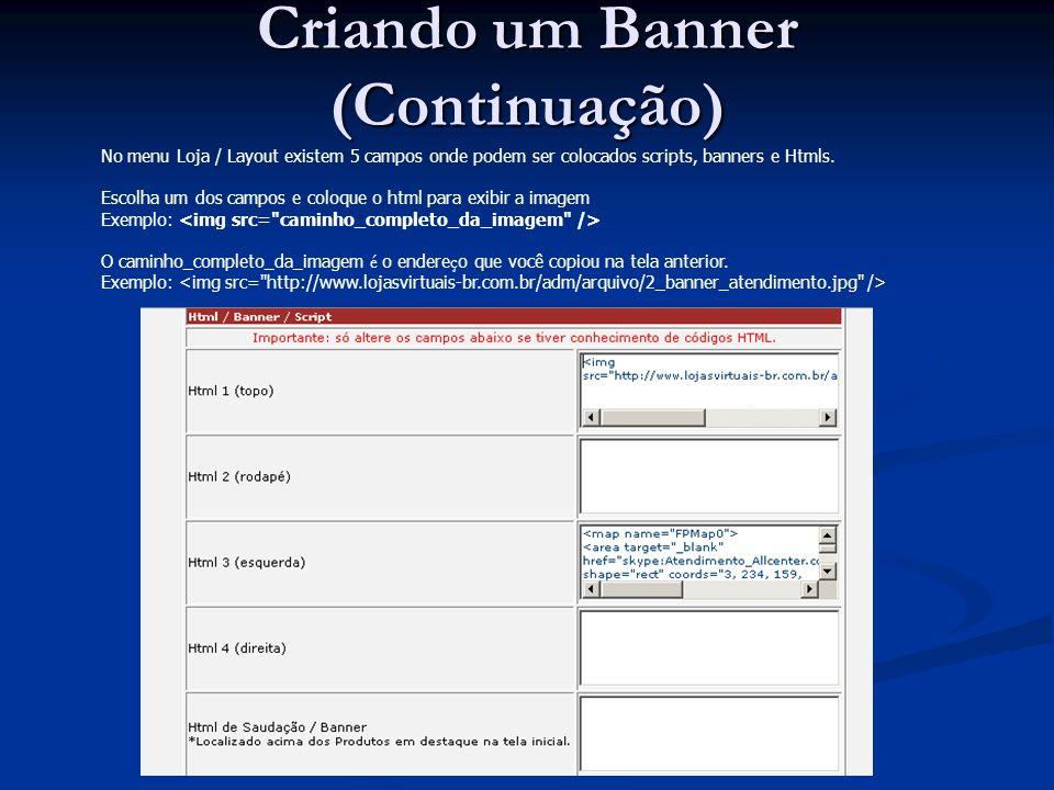 Criando um Banner (Continuação)