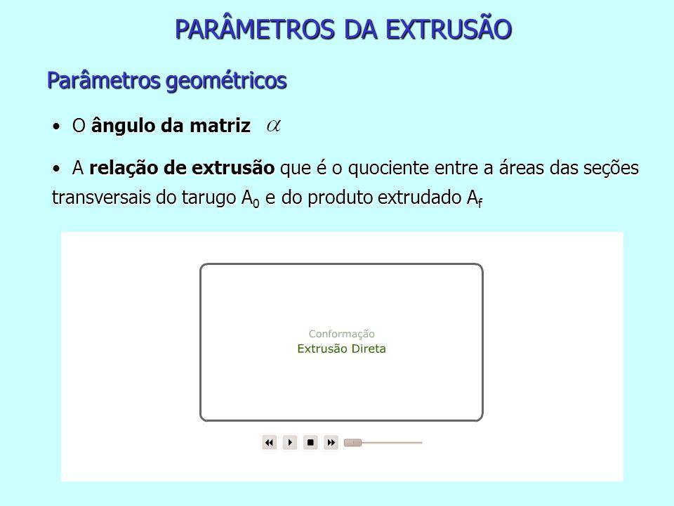 PARÂMETROS DA EXTRUSÃO