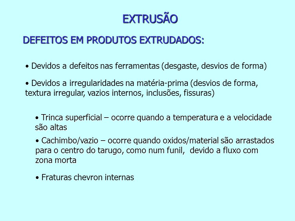 EXTRUSÃO DEFEITOS EM PRODUTOS EXTRUDADOS: