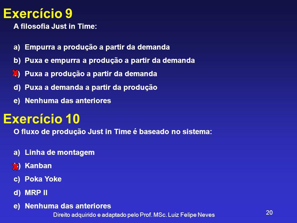 Exercício 9 Exercício 10 A filosofia Just in Time: