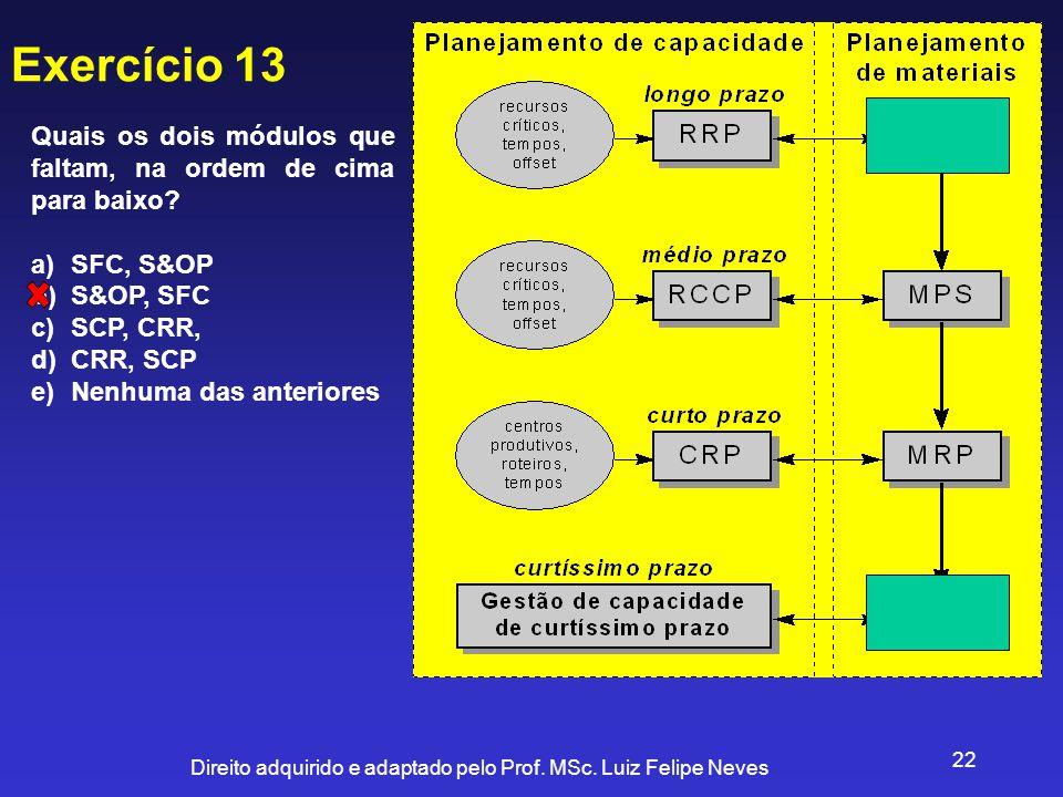Exercício 13 Quais os dois módulos que faltam, na ordem de cima para baixo SFC, S&OP. S&OP, SFC.