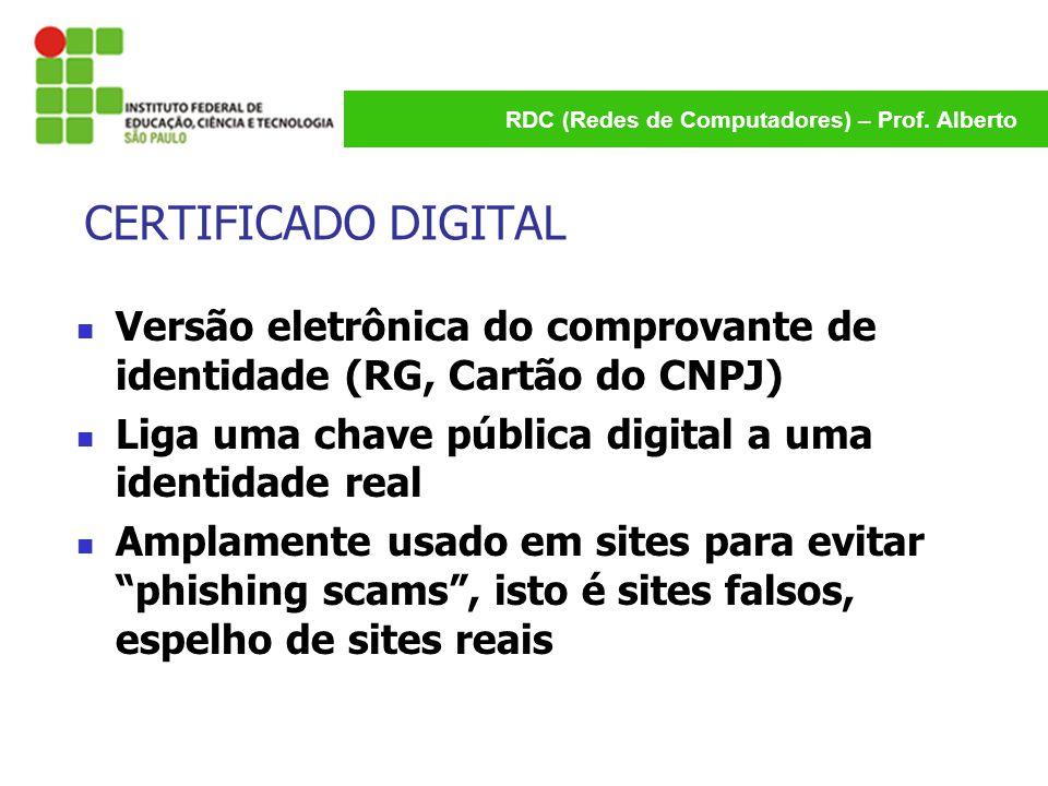 CERTIFICADO DIGITAL Versão eletrônica do comprovante de identidade (RG, Cartão do CNPJ) Liga uma chave pública digital a uma identidade real.