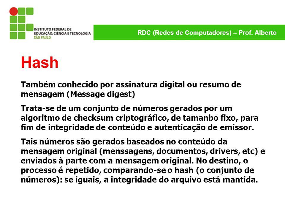 Hash Também conhecido por assinatura digital ou resumo de mensagem (Message digest)