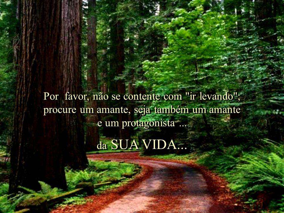 Por favor, não se contente com ir levando ; procure um amante, seja também um amante e um protagonista ...