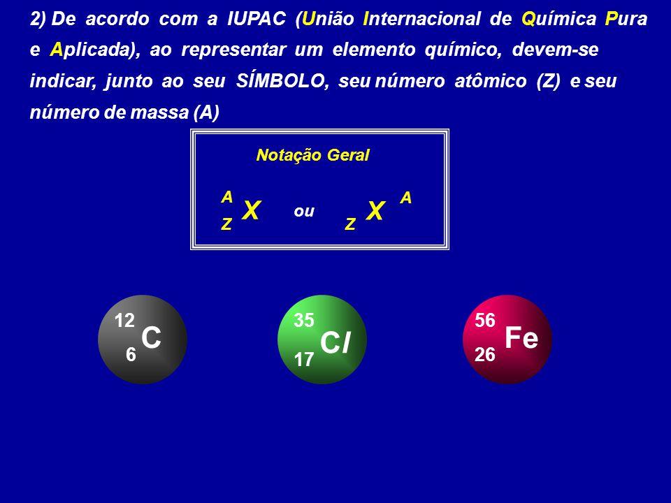 2) De acordo com a IUPAC (União Internacional de Química Pura e Aplicada), ao representar um elemento químico, devem-se indicar, junto ao seu SÍMBOLO, seu número atômico (Z) e seu número de massa (A)