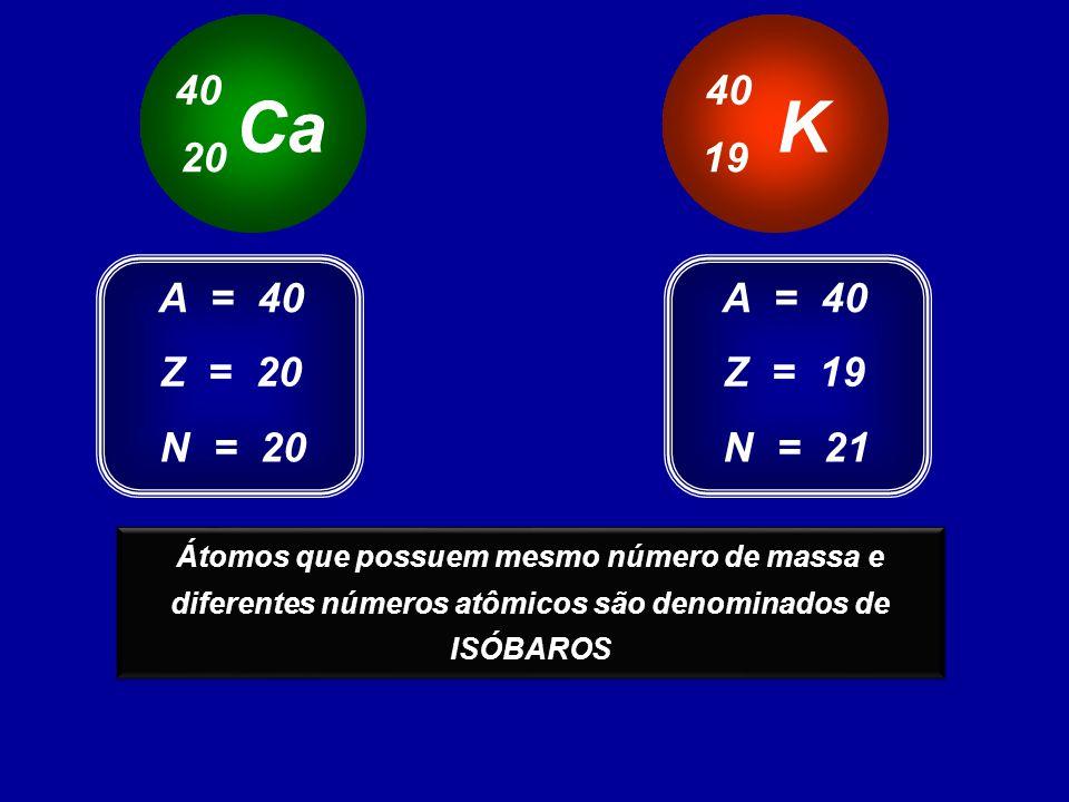 40 40. Ca. K. 20. 19. A = 40. A = 40. Z = 20. Z = 19. N = 20. N = 21.