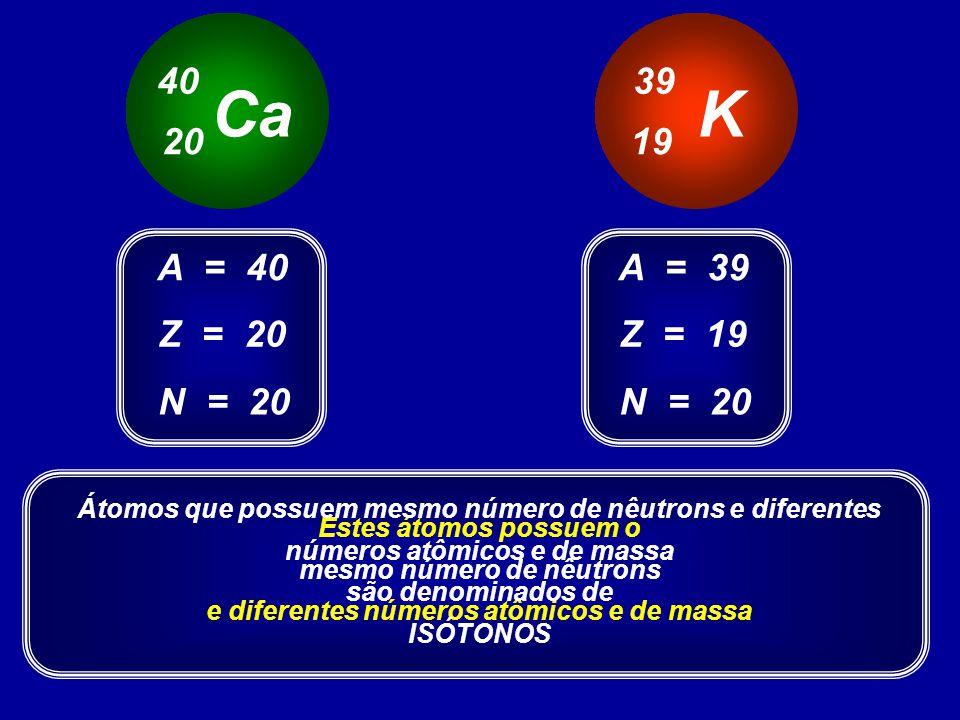 mesmo número de nêutrons e diferentes números atômicos e de massa