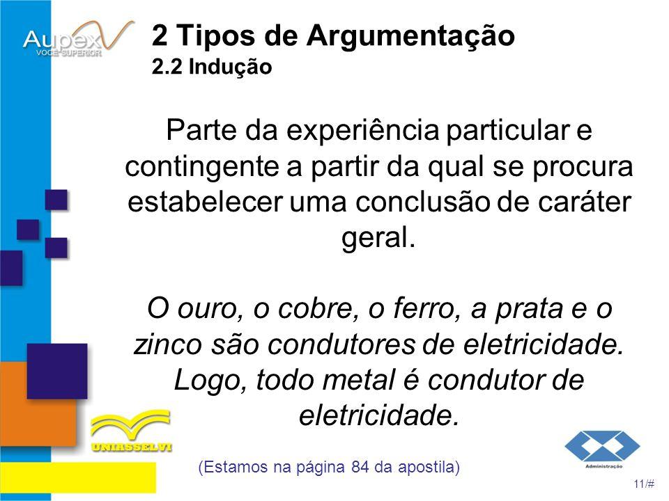 2 Tipos de Argumentação 2.2 Indução