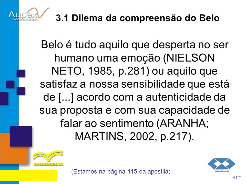 3.1 Dilema da compreensão do Belo
