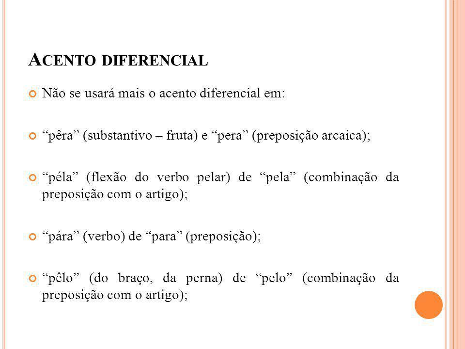 Acento diferencial Não se usará mais o acento diferencial em:
