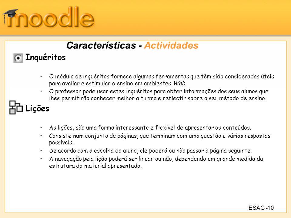 Características - Actividades