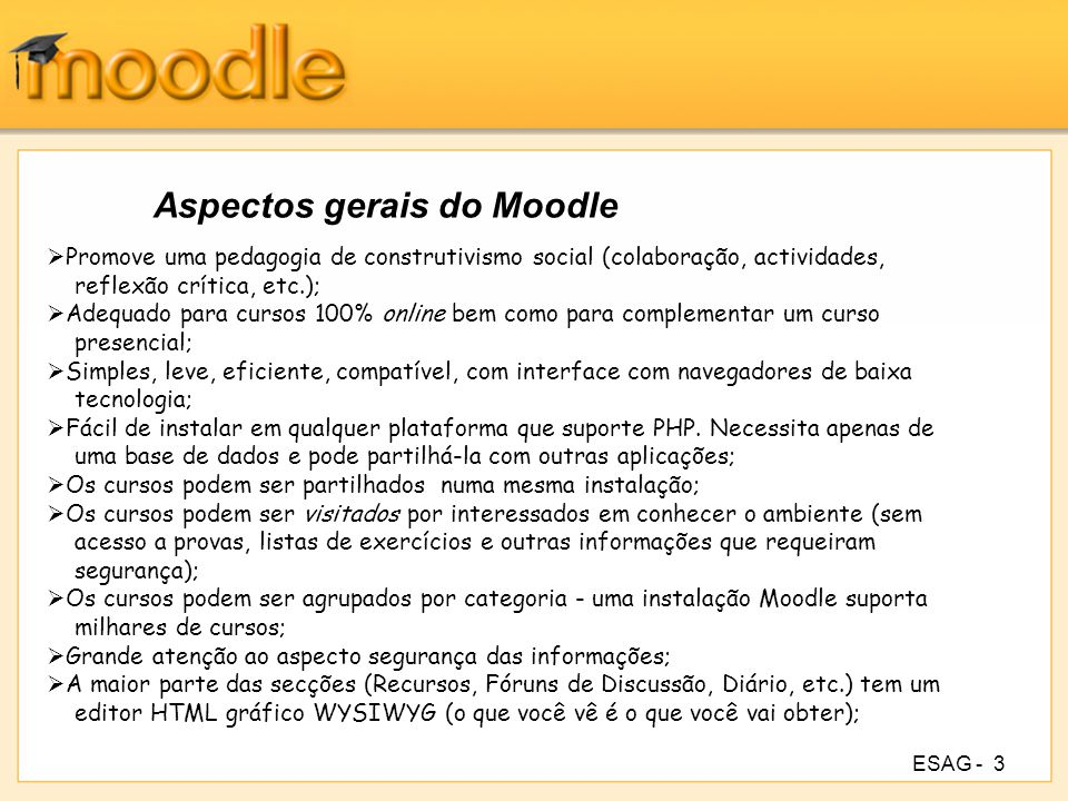Aspectos gerais do Moodle