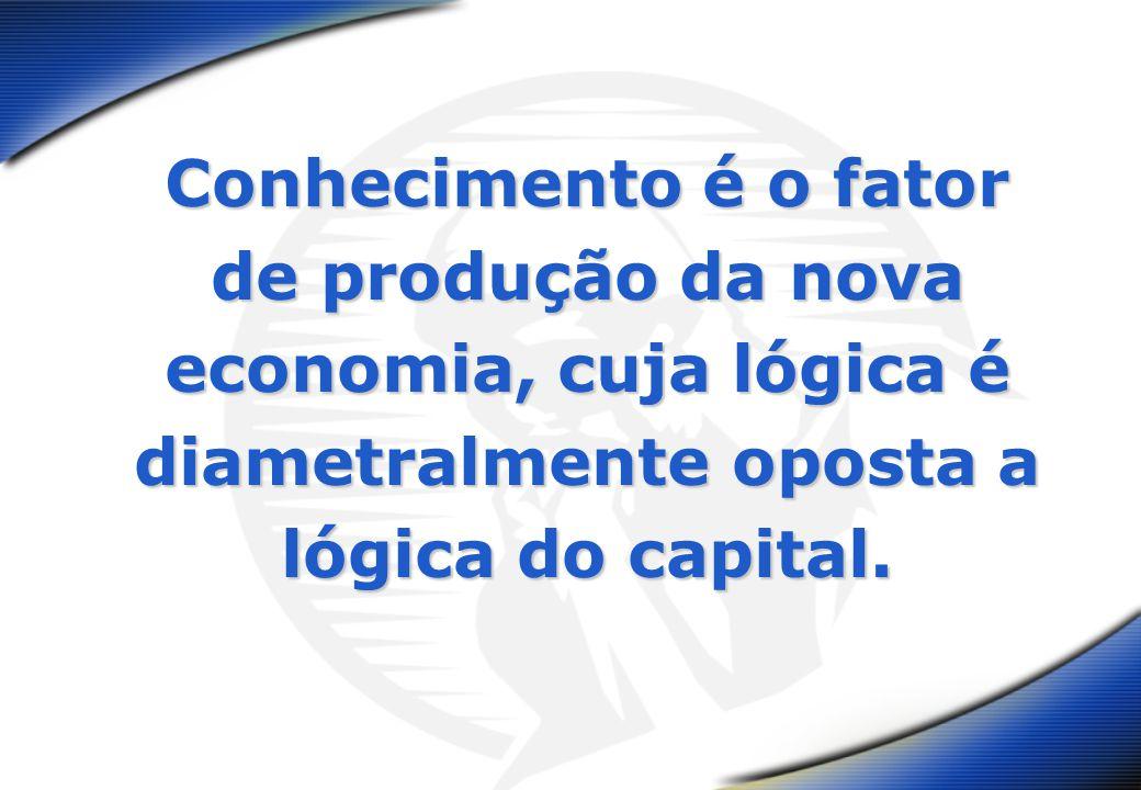 Conhecimento é o fator de produção da nova economia, cuja lógica é diametralmente oposta a lógica do capital.