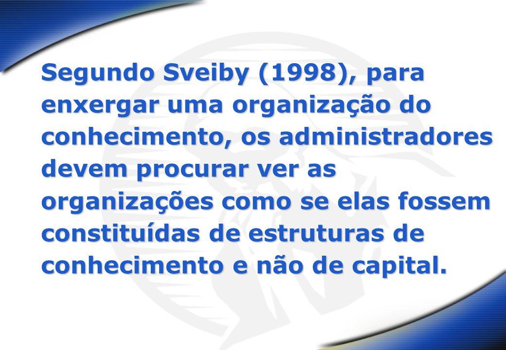 Segundo Sveiby (1998), para enxergar uma organização do conhecimento, os administradores devem procurar ver as organizações como se elas fossem constituídas de estruturas de conhecimento e não de capital.