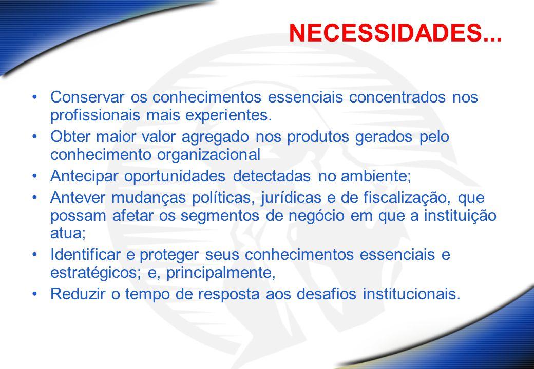 NECESSIDADES... Conservar os conhecimentos essenciais concentrados nos profissionais mais experientes.