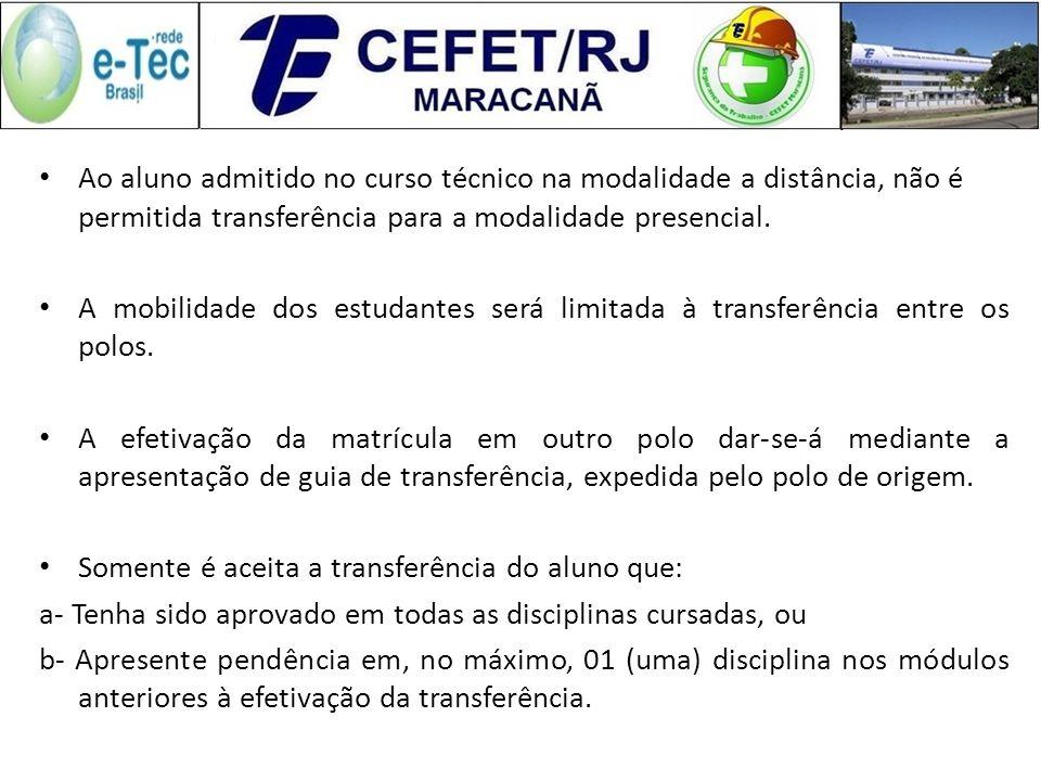 Ao aluno admitido no curso técnico na modalidade a distância, não é permitida transferência para a modalidade presencial.