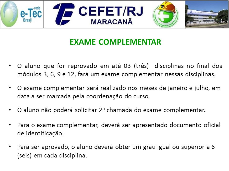 EXAME COMPLEMENTAR