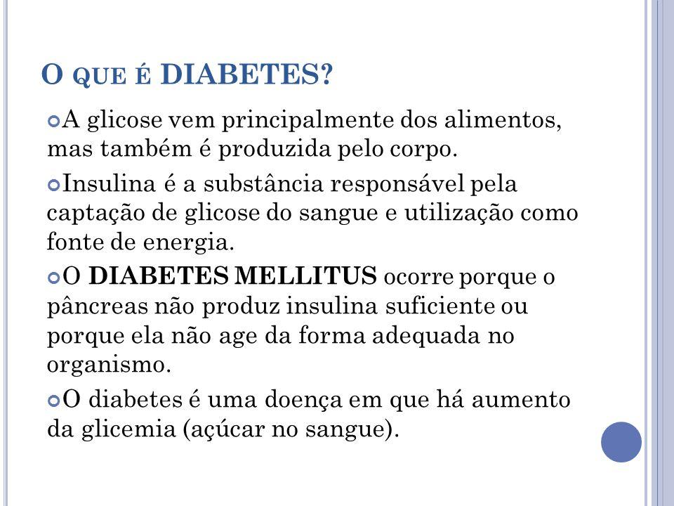 O que é DIABETES A glicose vem principalmente dos alimentos, mas também é produzida pelo corpo.