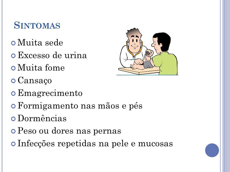 Sintomas Muita sede Excesso de urina Muita fome Cansaço Emagrecimento