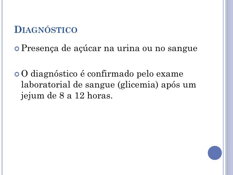 Diagnóstico Presença de açúcar na urina ou no sangue