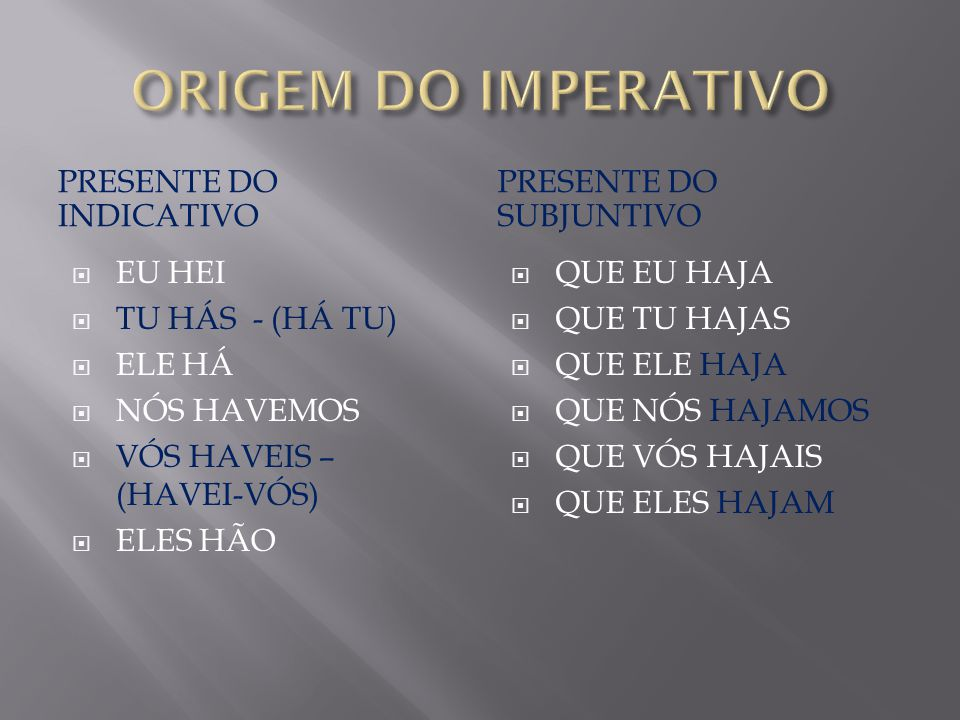 ORIGEM DO IMPERATIVO PRESENTE DO INDICATIVO PRESENTE DO SUBJUNTIVO