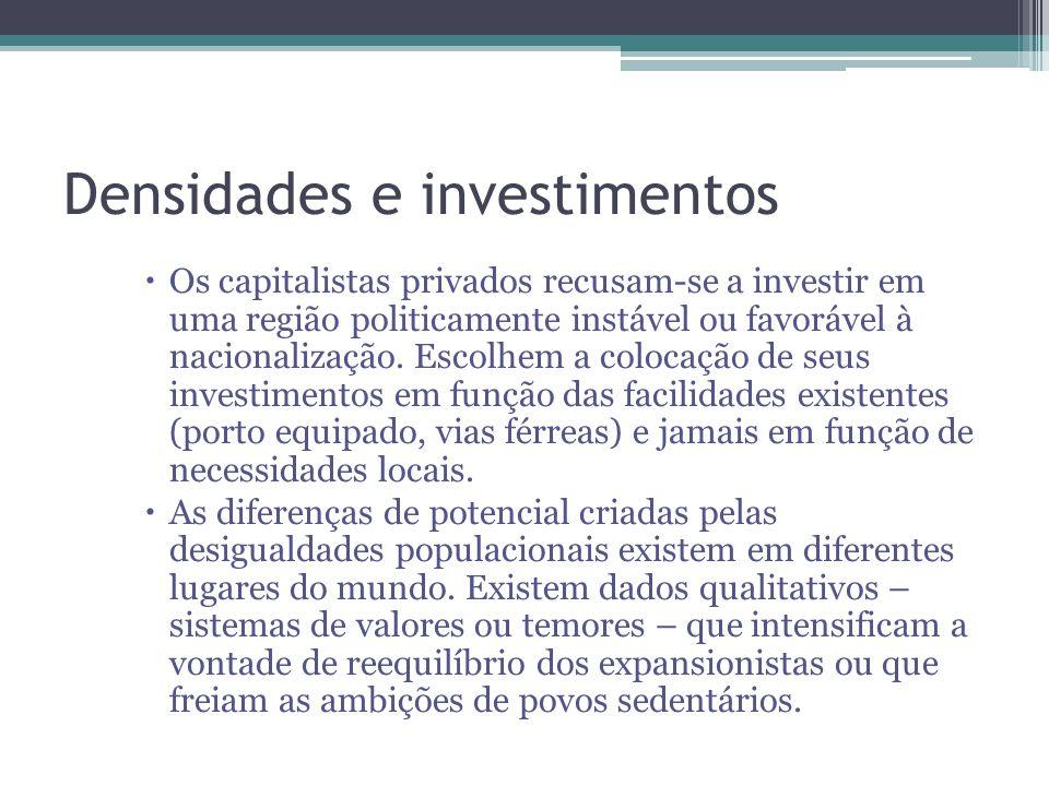 Densidades e investimentos