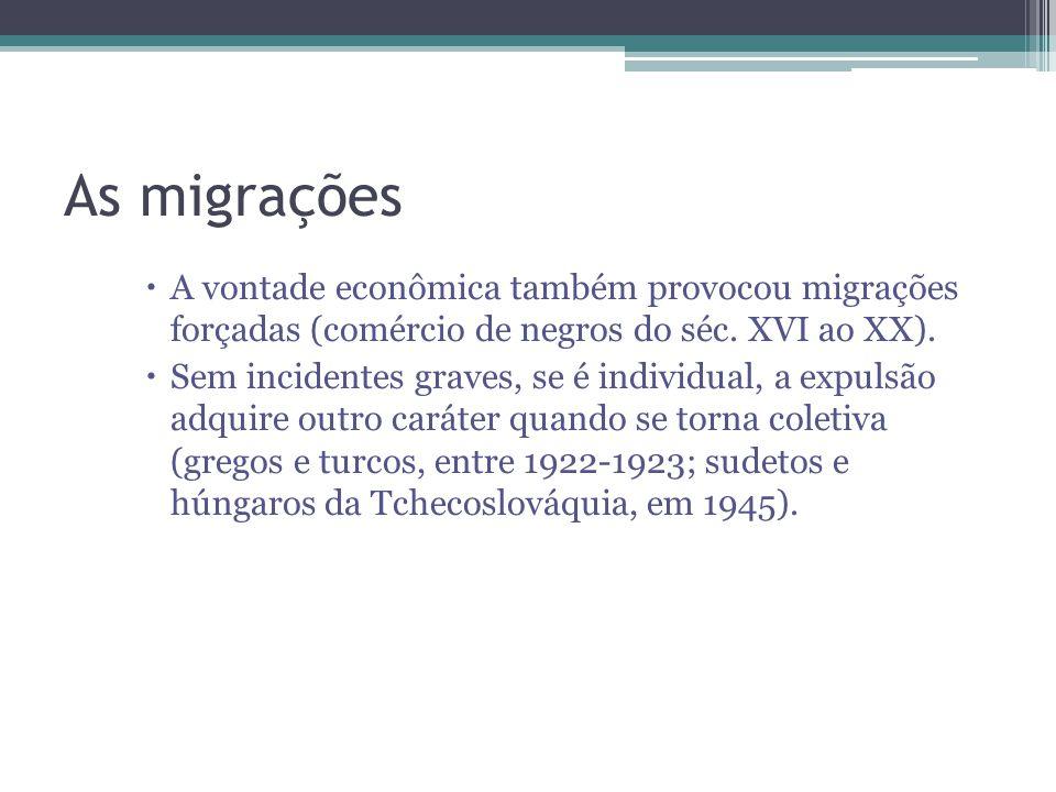 As migrações A vontade econômica também provocou migrações forçadas (comércio de negros do séc. XVI ao XX).