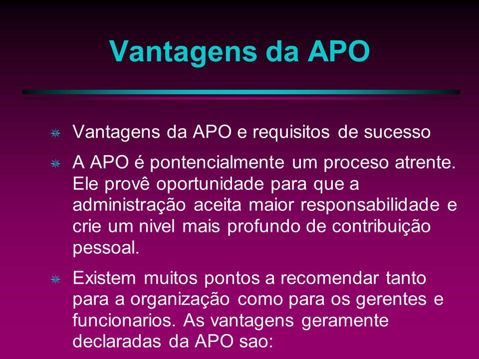 Vantagens da APO Vantagens da APO e requisitos de sucesso