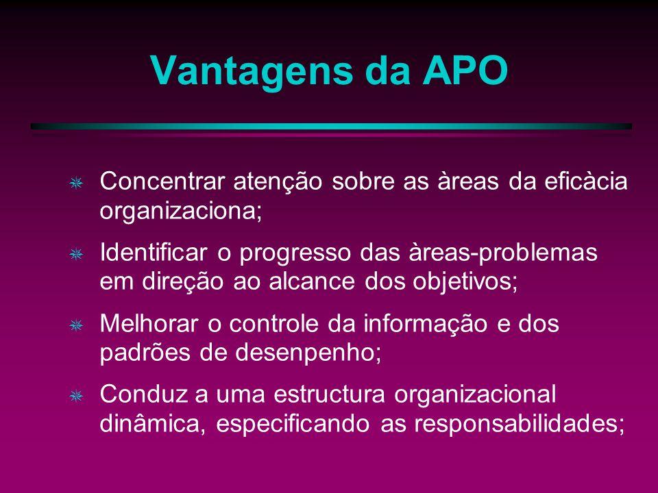 Vantagens da APO Concentrar atenção sobre as àreas da eficàcia organizaciona;