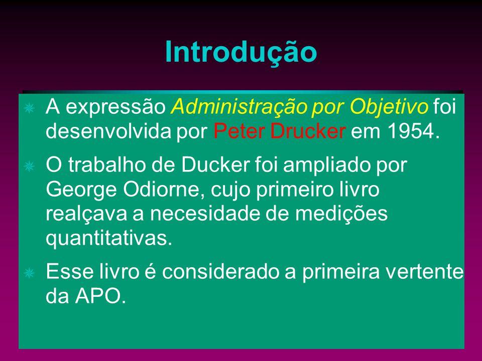 Introdução A expressão Administração por Objetivo foi desenvolvida por Peter Drucker em 1954.