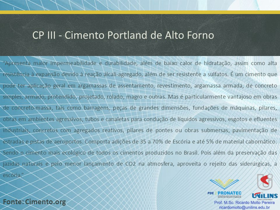CP III - Cimento Portland de Alto Forno